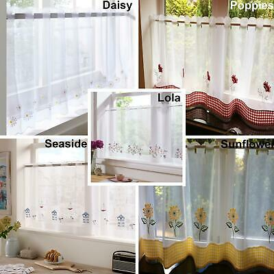 £9.46 • Buy Kitchen Voile Ready Made Café Net Curtain Panel Embroidered Designs 18  Or 24