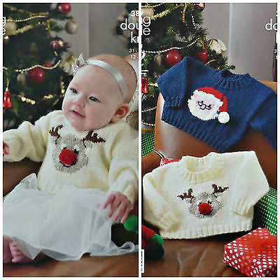 £3.95 • Buy Xmas KNITTING PATTERN Baby Rudolph & Father Christmas Jumpers DK King Cole 3804