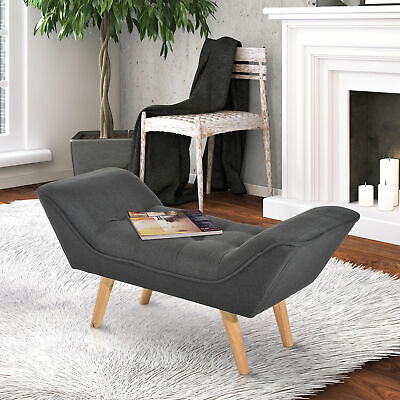 HOMCOM Chaise Lounge Ottoman Bench Deluxe Arm Linen Fabric Grey • 74.99£