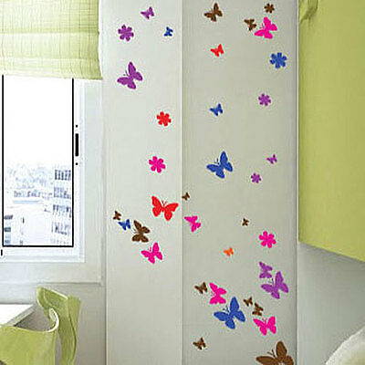 £3.99 • Buy 100 Butterfly Flower Art Children Wall Stickers Car Decals-multi Colour