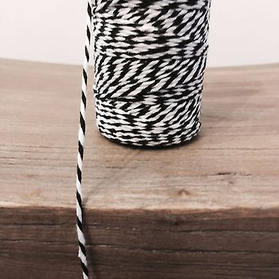 £0.99 • Buy 2 Metres Black And White 1.5mm Striped Bunting 100% Cotton String Twine Bakers
