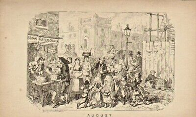 George Cruikshank Illustration 1835 : August - London Street Scene ! • 18£