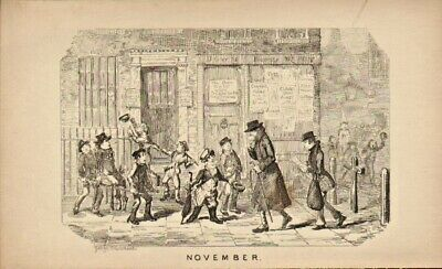George Cruikshank Illustration 1835 : November .london Street Scene ! • 18£