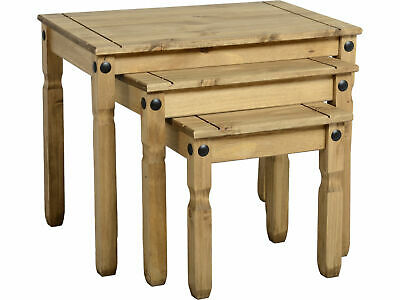Seconique Corona Nest Of Tables X 3 - Waxed Mexican Solid Pine • 62.95£