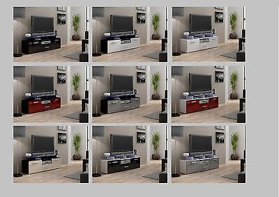 High Gloss Evora TV Cabinet Stand Entertainment Unit With Doors | LED Glass Top • 99.95£