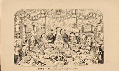 George Cruikshank Illustration 1841 : June - Unlicensed Victuallers Dinner • 18£
