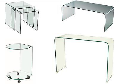 Azurro Curved Glass Tables - Coffee, Console, Lamp, Nest • 214.95£