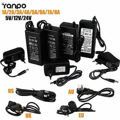 $ CDN4.14 • Buy 1A 2A 3A 5A 8A DC 5V 12V 24V Power Supply Adapter Transformer For 5050 LED Strip