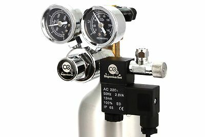 CO2 Regulator With Solenoid & Dual Gauges For Horizontal Cylinder Valves • 109.99£