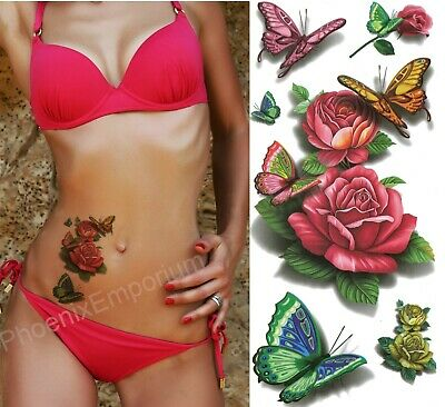 £2.29 • Buy Butterfly Rose Tattoos Temporary 3D Body Art Stickers Fake Ladies Red Waterproof