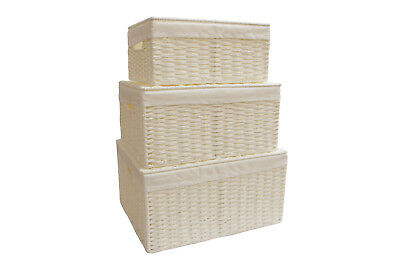 Storage Hamper Basket White Paper Rope Woven Box With Cloth & Lid • 6.49£