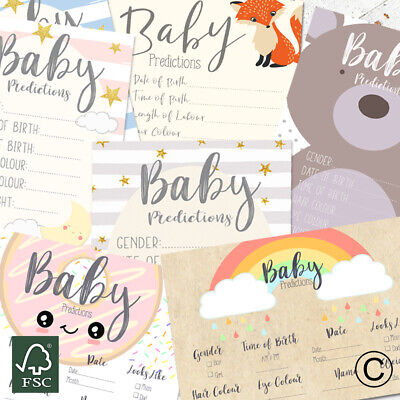 Baby Shower Games Prediction Cards Baby Boys/Girls/Unisex A6 Cards X10 Per Pack • 4.50£