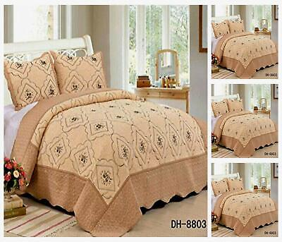 £29.99 • Buy 3 Piece Patchwork Bedspread Set  Throw Comforter Size 230x250 Cm Fit Double&King