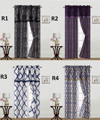 $5.90 • Buy 5pc Set Printed   Rod Pocket Window Curtain With Valance And Tie Back R's