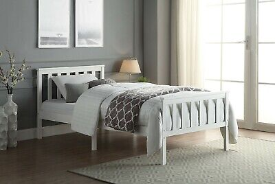 £66.99 • Buy Single Bed Frame White Wooden Bed For Adults Kids Teenagers Bedroom 3FT Pine Bed