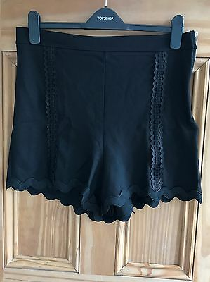 Topshop New Black High Waisted Lace Braid Trim Winter Shorts Size 6 RRP=£26 • 7.19£
