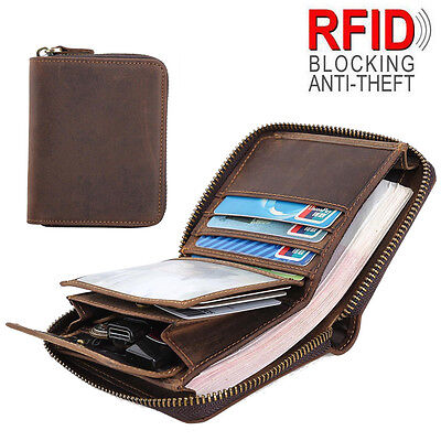 AU31.34 • Buy RFID Men's Leather Small Wallet Slim Purse Zip Around Credit Card Coins Holder