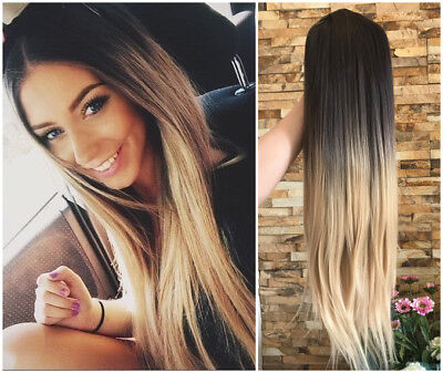 $22.99 • Buy 24Inches Ombre Half Head Wig 3/4 Weave Straight Wavy Curly Loose Curl No Parting