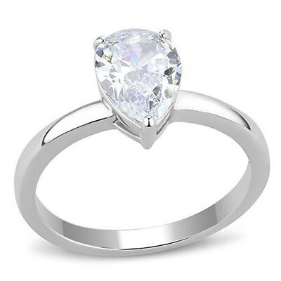 $9.49 • Buy Solitaire Ring Pear Cubic Zirconia Engagement Wedding CZ Stainless Steel Size 10