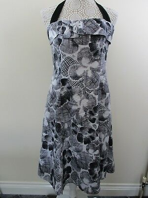 Rocha John Rocha Halter Dress. Size 12. Black,white Floral. Debenhams. • 14.95£