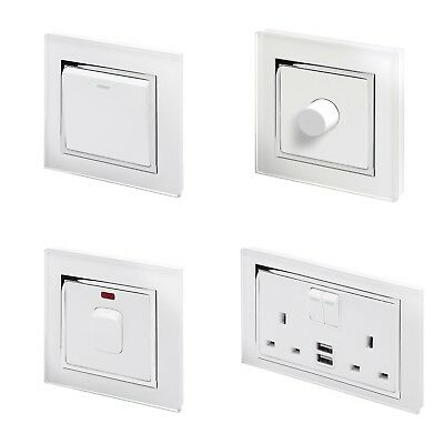 £28.95 • Buy RetroTouch White Glass CT Light Switches, Plug Sockets, Dimmers, Cooker, Fused