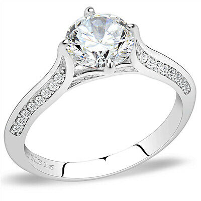 $12.34 • Buy 7mm Round CZ  Ring Solitaire Engagement Cubic Zirconia Accents Stainless Steel