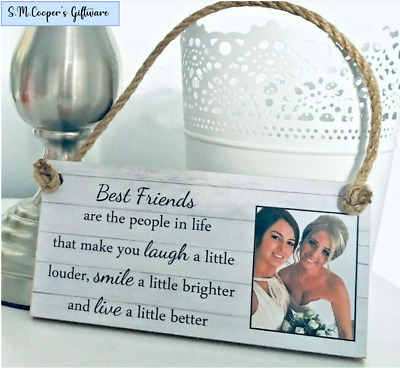 PERSONALISED FRIENDSHIP GIFT For BEST FRIEND Photo Plaque Sign Custom Quote Text • 6.99£