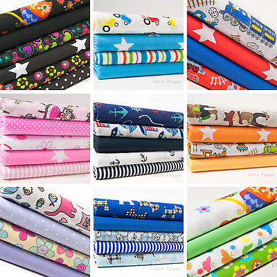 Children's Fabric 10 Inch Squares Bundle Nursery Polycotton Kids Craft Boy Girl • 2.69£
