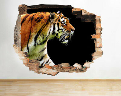 Wall Stickers Tiger Animal Zoo Cat Wild Smashed Decal 3D Art Vinyl Room D787 • 9.99£