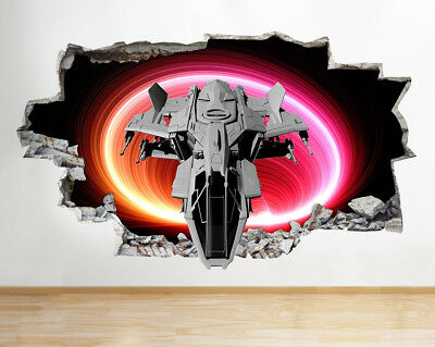 Wall Stickers Spaceship Lights Speed Cool Smashed Decal 3D Art Vinyl Room G496 • 44.99£