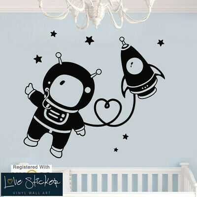 Wall Stickers Astronaut Space Spaceship Boys Nursery Art Decal Vinyl Room • 12.99£
