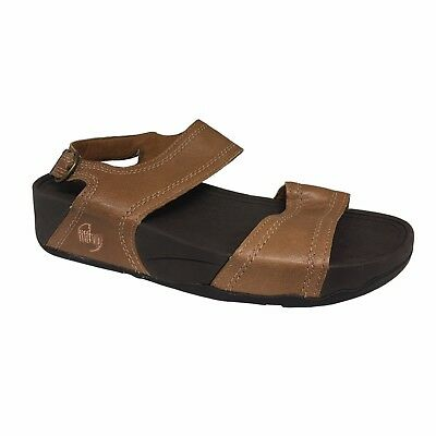 FIT FLOP Women's Shoe Leather Toffee Tan Positano Spenco FitFlop Microwobbleboar • 92.11£