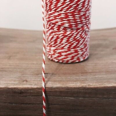 £0.99 • Buy 2 Metres Red/White 1.5mm Striped Bunting 100% Christmas Cotton String Twine
