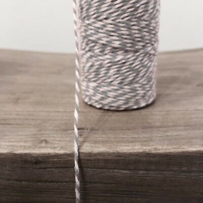 £0.99 • Buy 2 Metres Grey And White 1.5mm Striped Bunting 100% Cotton String Twine Bakers