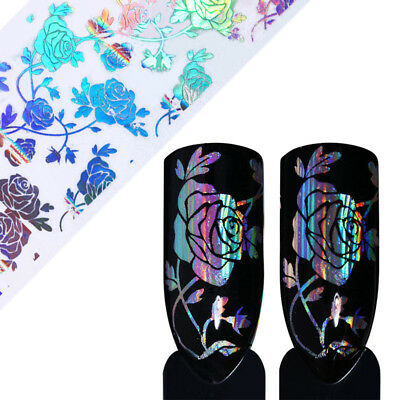 £2.20 • Buy HOLOGRAPHIC SILVER ROSE Nail Art Foil Transfer Glitter Stickers 3D Nails Foils