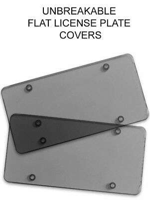 $7.40 • Buy 2x Smoked Flat License Plate Cover Shield Tinted Plastic Tag Protector