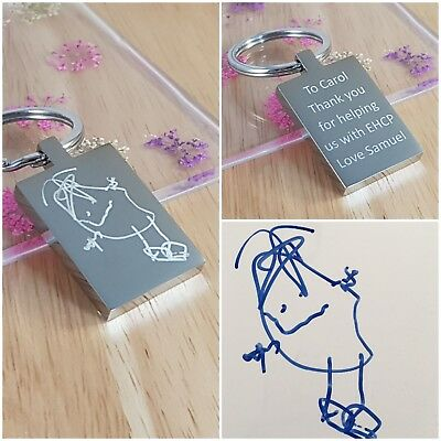 Personalised Birthday Gift - Keyring Engraved - Childs Drawing/handwriting • 10.50£
