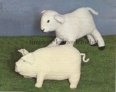 £3.45 • Buy Vintage Toy Knitting Pattern For Percy Pig & Larry Lamb - Chunky