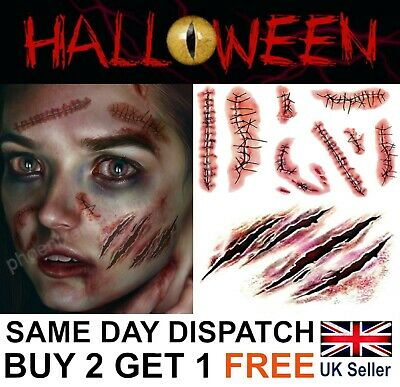 Halloween Zombie Scars Tattoos Fake Blood Scab Scar Wound Costume Make-Up Kit UK • 1.99£