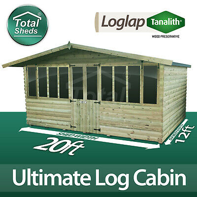 £5856.39 • Buy 20 X 12 ULTIMATE LOG CABIN SUMMER HOUSE OFFICE WOODEN SHED TOP QUALITY TIMBER
