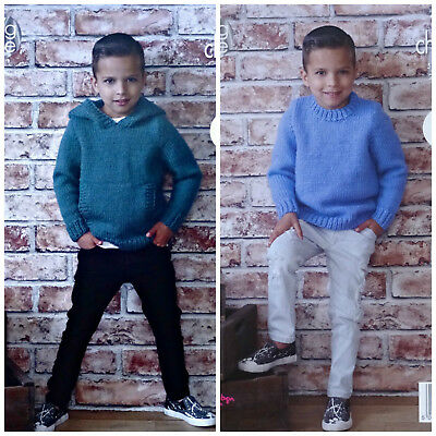 £3.95 • Buy KNITTING PATTERN Boys Easy Knit Round Neck Jumper & Hoodie Chunky King Cole 4971