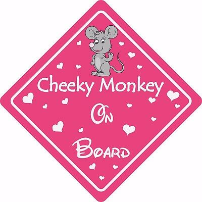 £1.49 • Buy CHEEKY MONKEY ON BOARD MOUSE Car Sign Sticker Baby Child Children Safety Kids