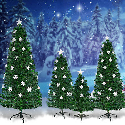 3ft 4ft 5ft 6ft Fiber Optic Christmas Tree Color Changing Snowflake Decoration • 39.99£