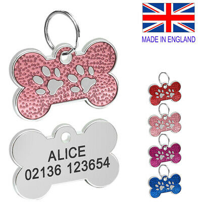£3 • Buy FREE ENGRAVING Dog ID / Cat ID Name Tag Bone Personalised Puppy Pet IDTags