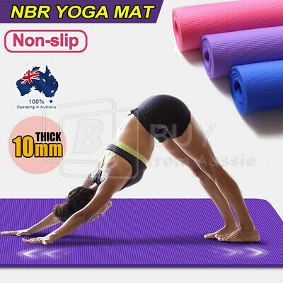 AU20.85 • Buy 10MM Thick Yoga Mat Pad Nonslip Exercise Fitness Pilate Gym 7Color