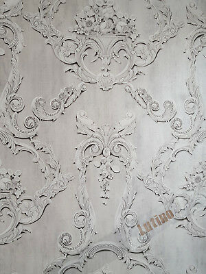 Grovesnor Grey Floral Cameo Damask Feature 3d Effect Wallpaper By Debona 6217 • 8.45£