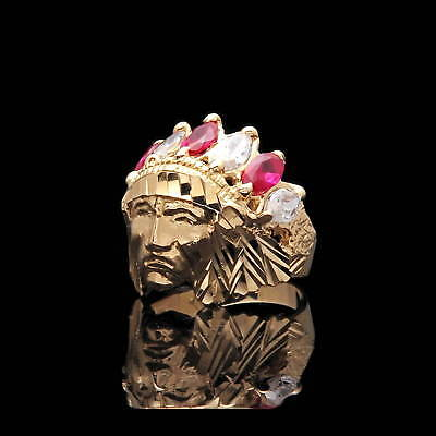 £354.92 • Buy 1.24TCW Marquise Ruby Red Created Diamond Indian Chief Head Ring 14K Yellow Gold