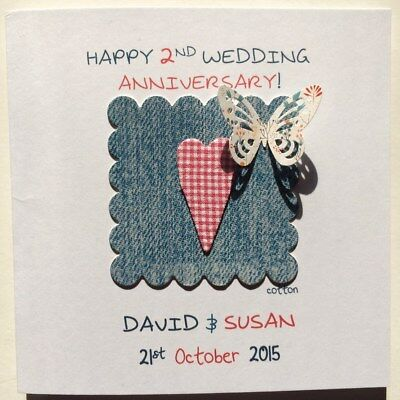Personalised 2nd/cotton Wedding Anniversary Card/second Wedding/cotton Heart/3D • 3.99£