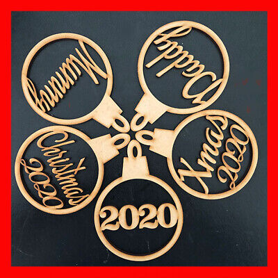4 X Personalised Named Christmas Tree MDF Decoration Baubles - Wooden Shapes • 4.95£