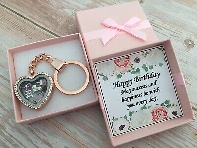 £5.99 • Buy Personalised HAPPY BIRTHDAY Gifts Rose Gold Locket Keyring 16th 21st 30th 40th